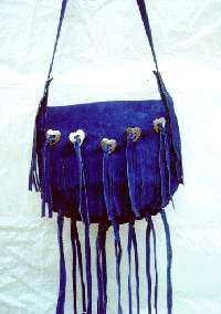 Suede purse with heart shaped conchos